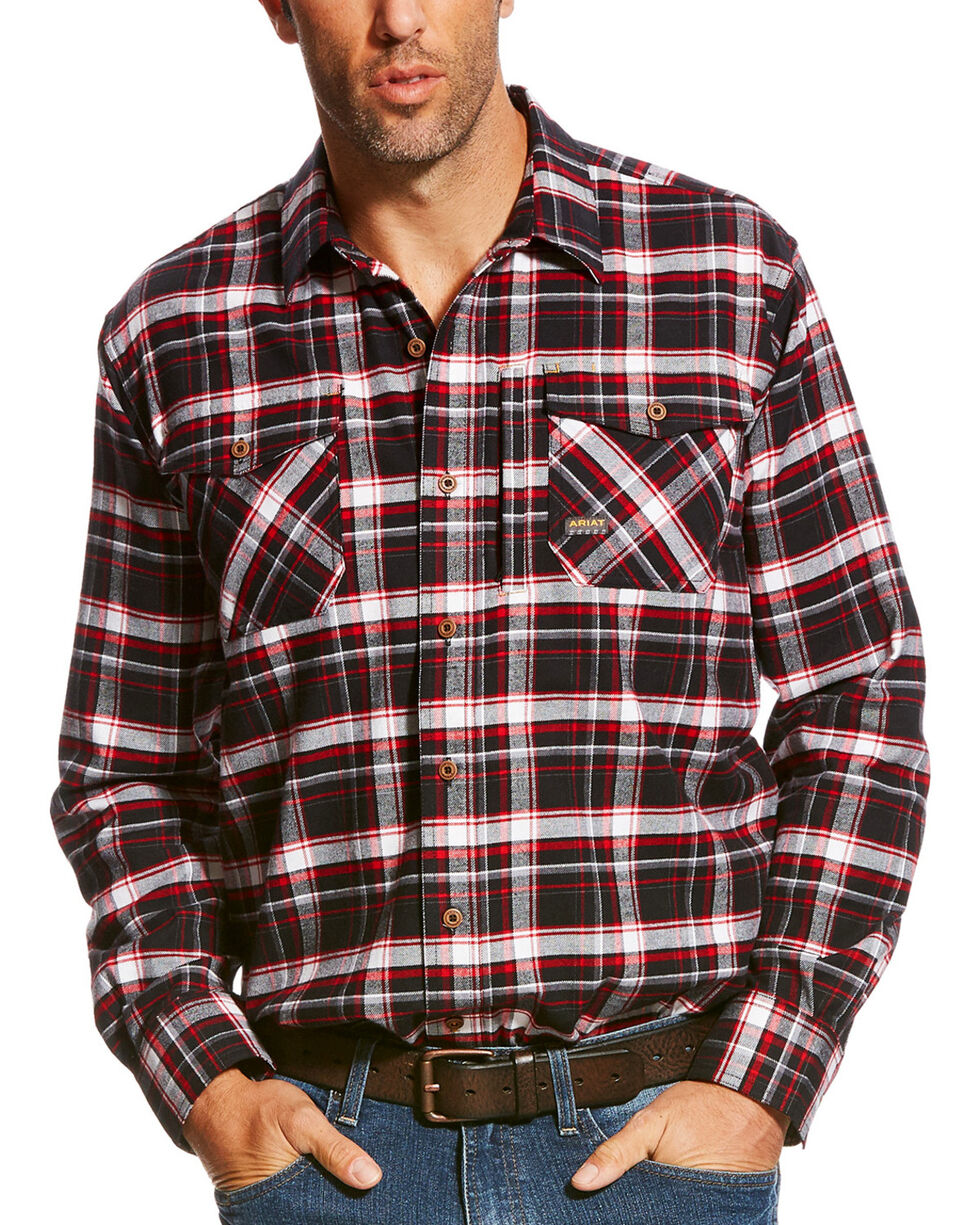Ariat Men's Rebar Jesse Plaid Flannel Work Shirt, Black, hi-res