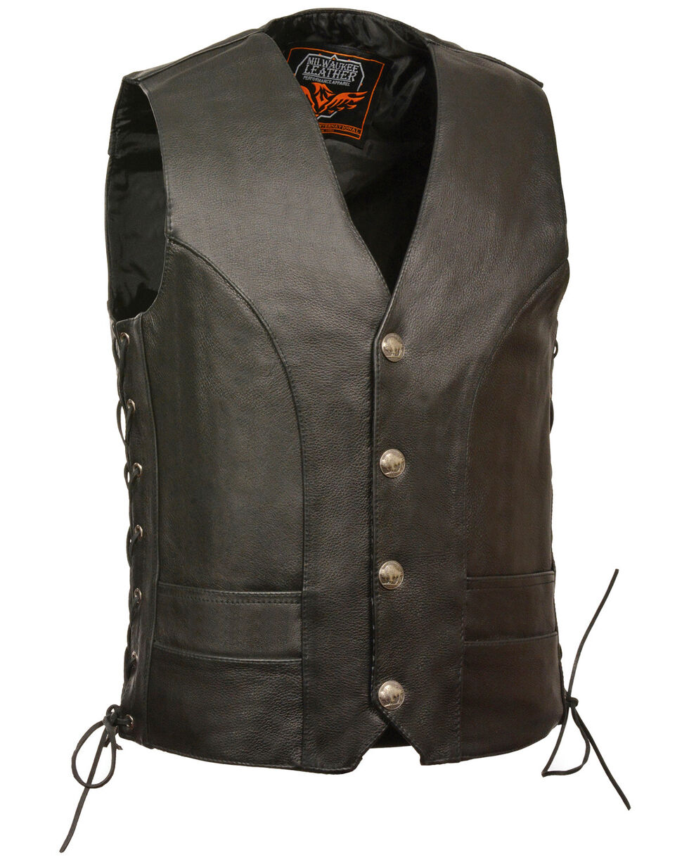 Milwaukee Leather Men's Buffalo Snap Side Lace Vest - Big, Black, hi-res