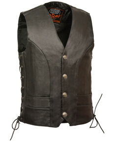 Milwaukee Leather Men's Buffalo Snap Side Lace Vest - XXBig, Black, hi-res