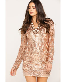 Very J Women's Rose Gold Sequin Long Sleeve Dress, Rose, hi-res