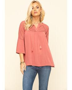 Wrangler Women's Rose Crochet Peasant Top , Pink, hi-res