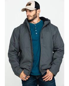 Hawx® Men's Shadow Grey Canvas Quilted Bi-Swing Hooded Zip Front Jacket , Dark Grey, hi-res