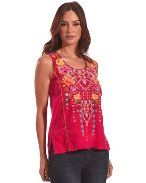 Johnny Was Women's Pink Vella Embroidered Tank Top, Medium Pink, hi-res