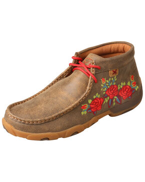 Twisted X Women's Floral Moccasin Shoes - Moc Toe, Brown, hi-res