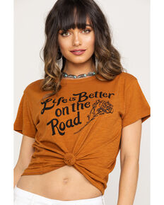 White Crow Women's Cognac Road Life Tee , Cognac, hi-res