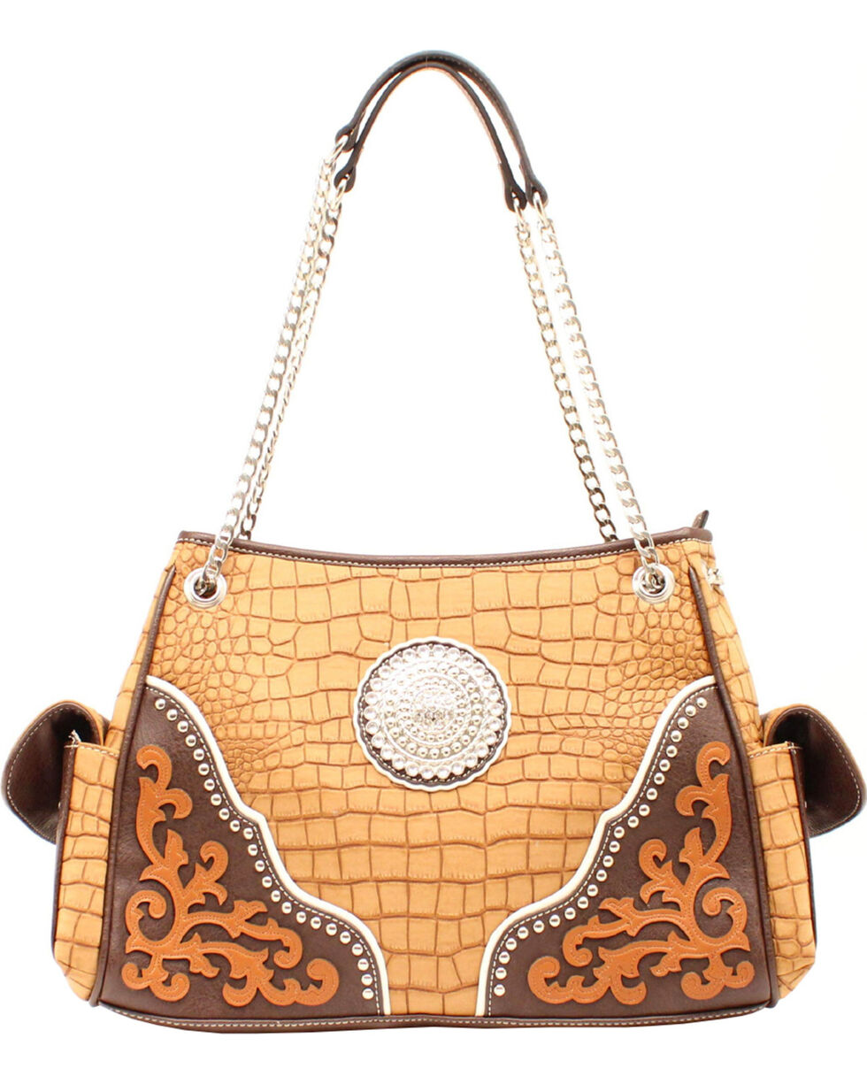 Blazin' Roxx Women's Rhinestone Medallion Gator Purse, Tan, hi-res