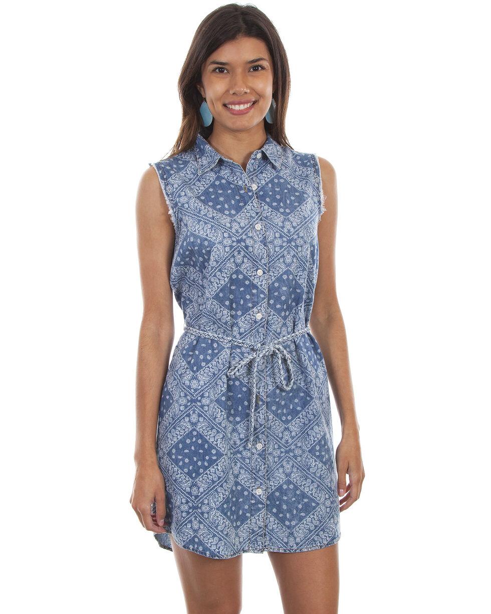 Scully Women's Bandana Sleeveless Button Front Tie Belt Dress, Blue, hi-res