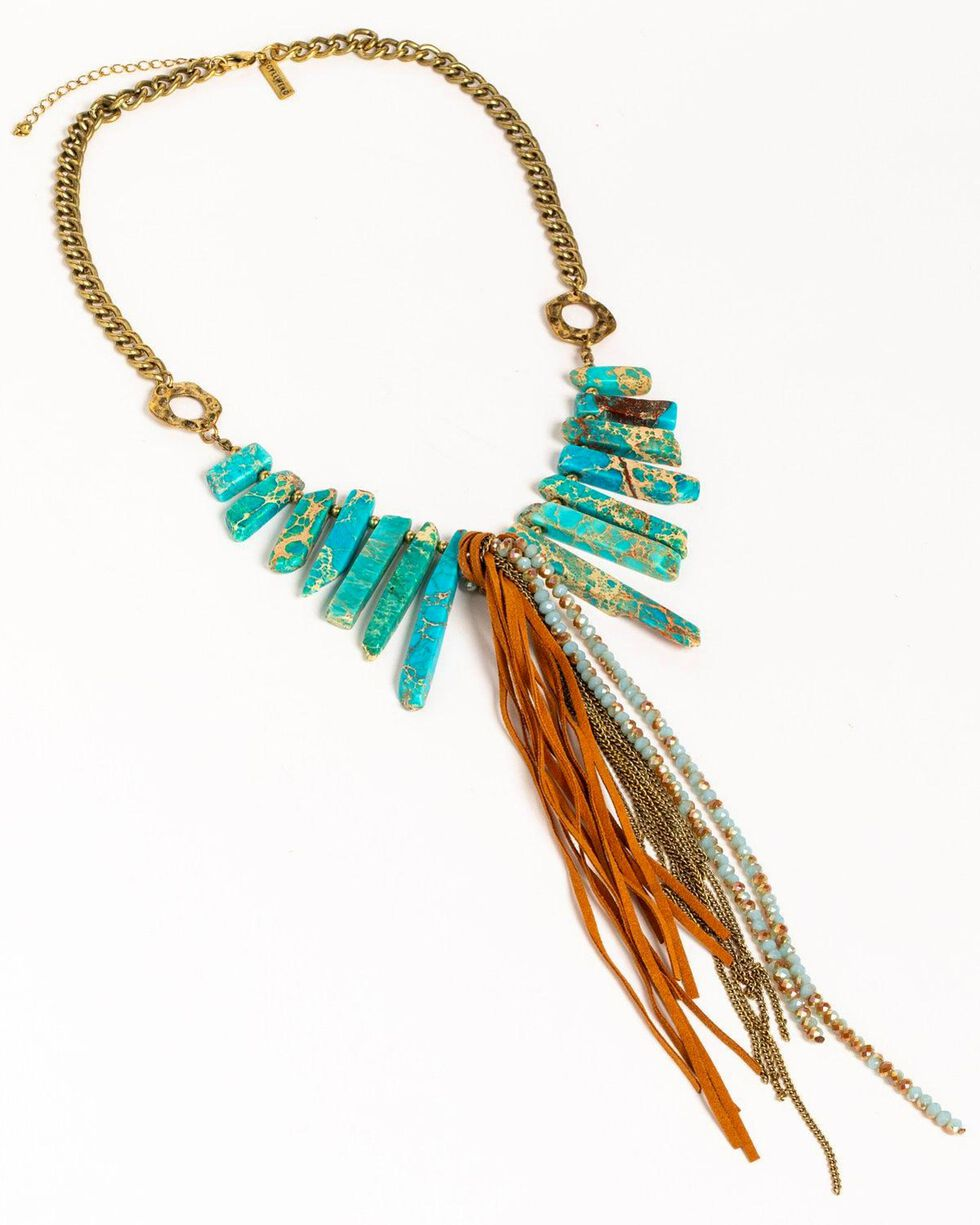 Idyllwind Women's Turquoise Statement Necklace , Gold, hi-res