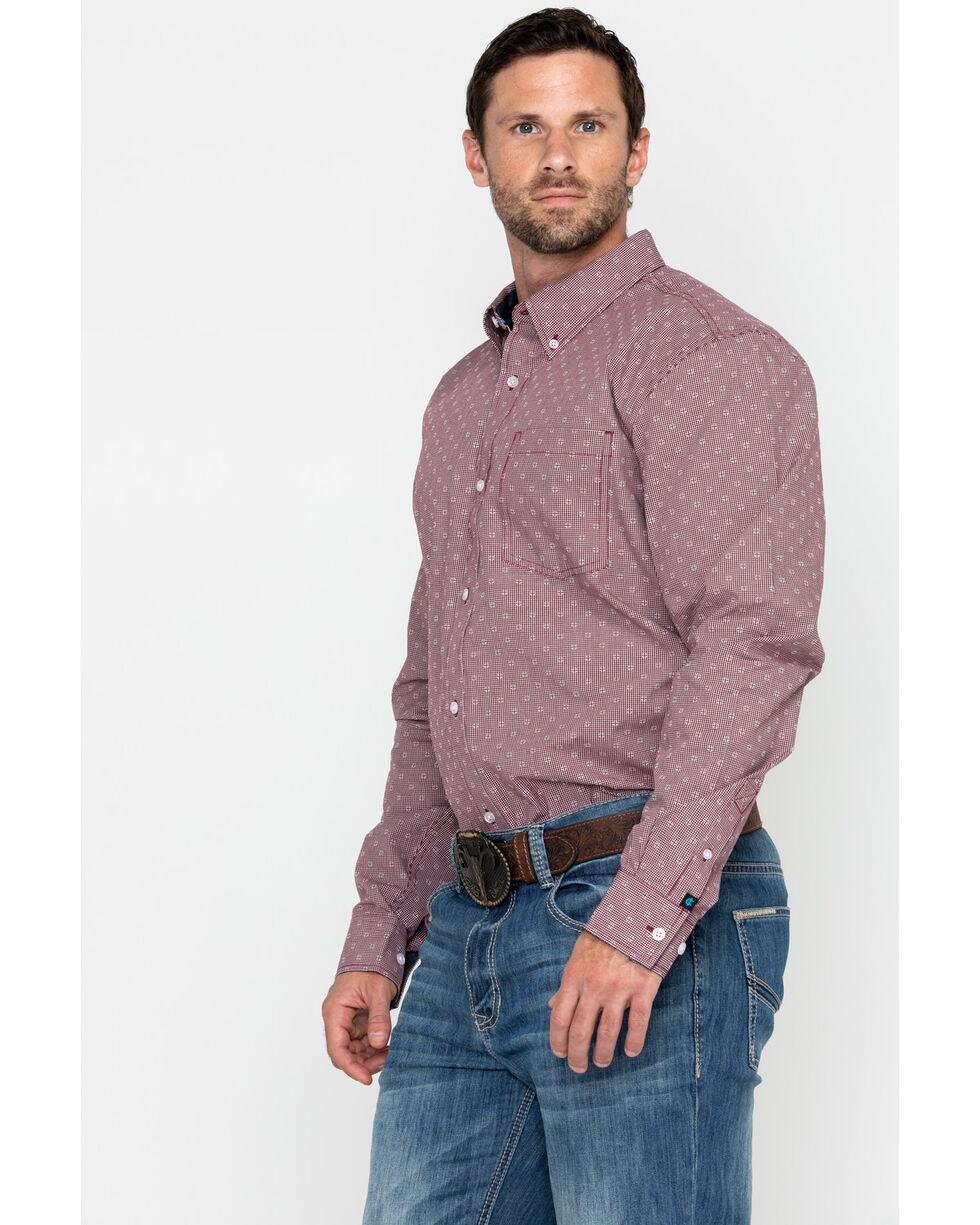 Cody Core Men's North Star Geo Print Long Sleeve Western Shirt - Big, Maroon, hi-res
