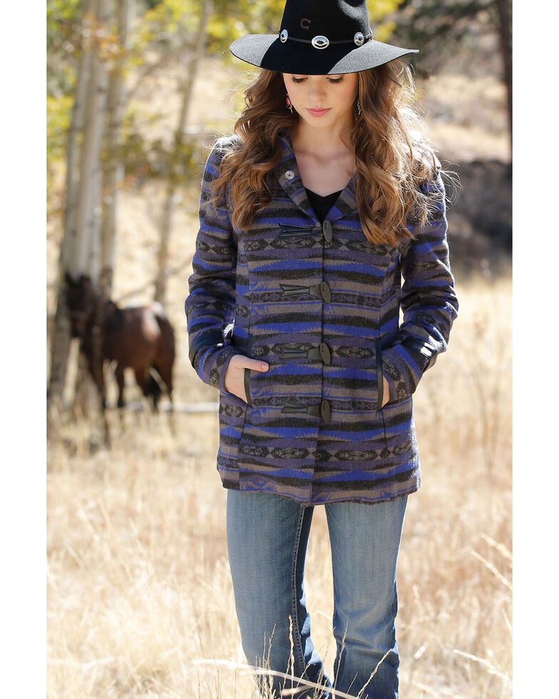 Cruel Girl Girls' Aztec Patterned Tweed Coat , Blue, hi-res