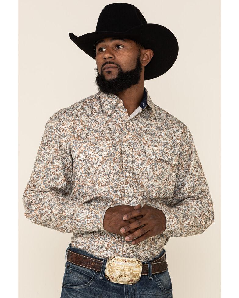 Roper Men's West Made Grand Dad's Paisley Print Long Sleeve Western Shirt , Brown, hi-res