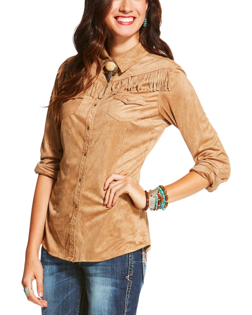 Ariat Women's Shasta Fringe Trim Long Sleeve Snap Shirt, Tan, hi-res