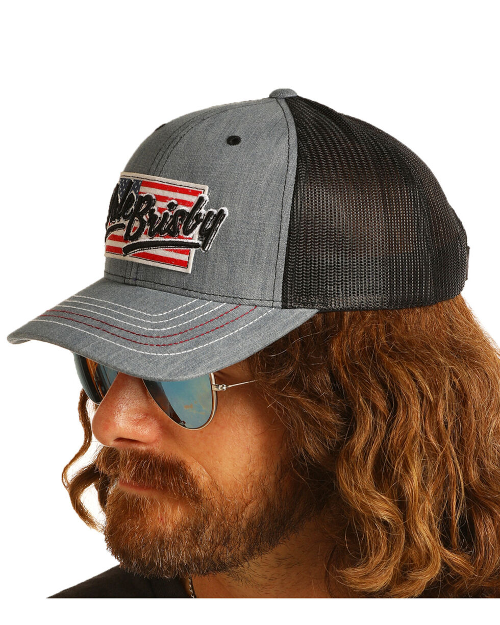 Dale Brisby Men's American Flag Patch Mesh Cap, Grey, hi-res