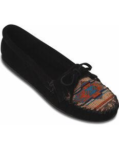 Minnetonka El Paso Woven Southwestern Moccasins, Black, hi-res