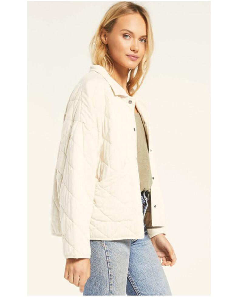 Z Supply Women's Bone Quilted Jersey Button Down Jacket , Cream, hi-res