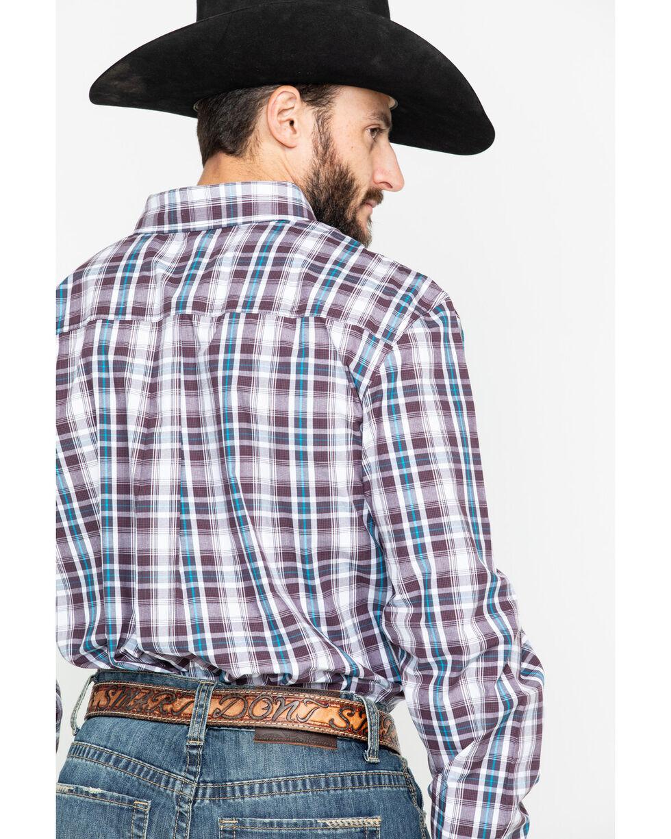 Cody Core Men's Lincoln Medium Plaid Long Sleeve Western Shirt , White, hi-res