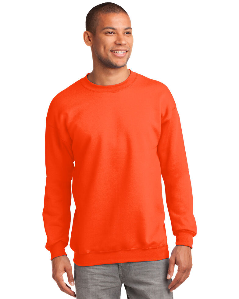 Port & Company Men's Safety Orange 2X Essential Fleece Crew Work Sweatshirt - Big , Orange, hi-res