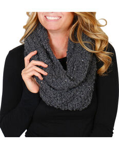 Shyanne® Women's Sequin Infinity Scarf, Charcoal, hi-res