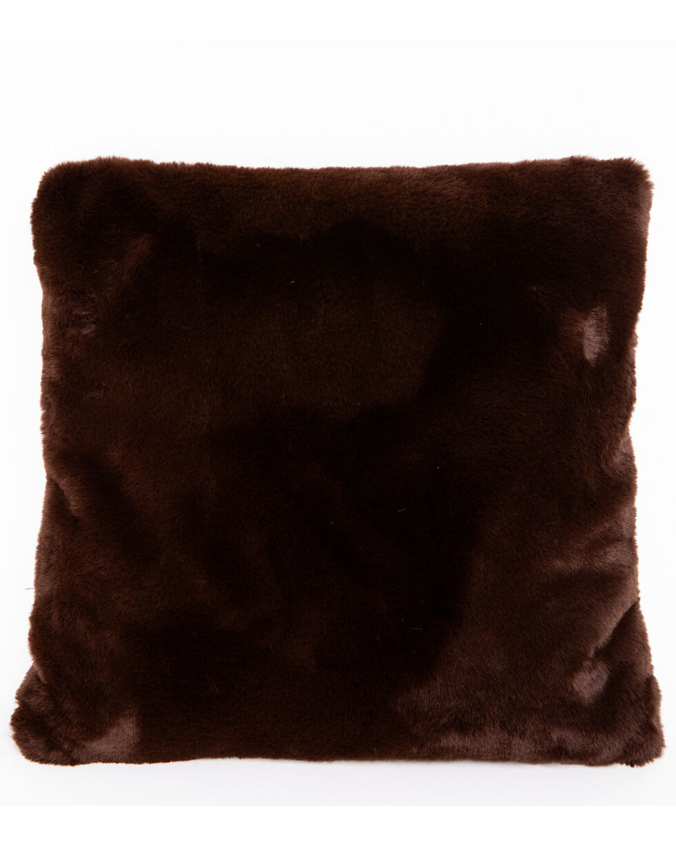 BB Ranch Brown Faux Fur Pillow, Brown, hi-res