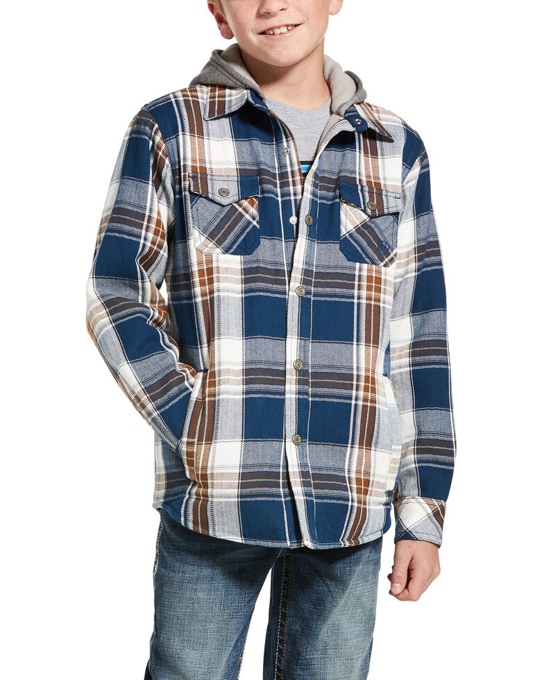 Ariat Boys' Harrow Retro Plaid Hooded Quilted Shirt Jacket , Navy, hi-res