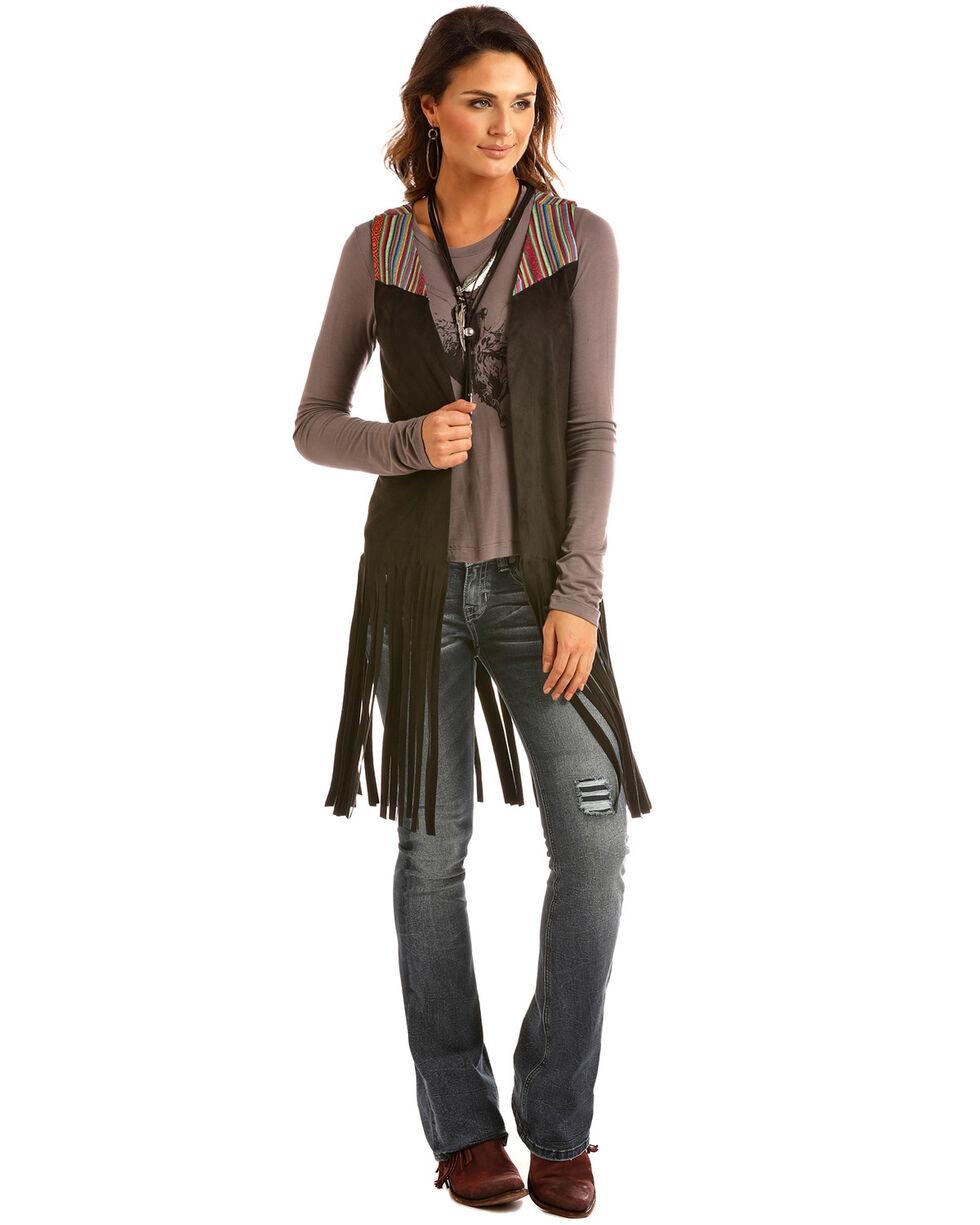 Rock & Roll Cowgirl Women's Microsuede Fringe Vest, Black, hi-res