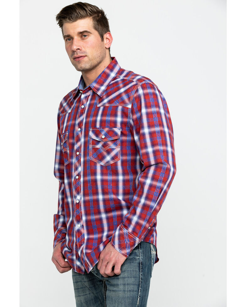 Rock & Roll Cowboy Men's Red Crinkle Plaid Long Sleeve Western Shirt , Red, hi-res