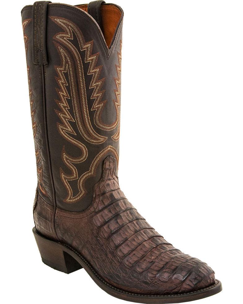 Lucchese Men's Handmade Walter Hornback Caiman Western Boots - Medium Toe, Dark Brown, hi-res