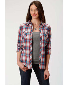 West Made Women's Paint Brush Plaid Long Sleeve Western Shirt, Red, hi-res