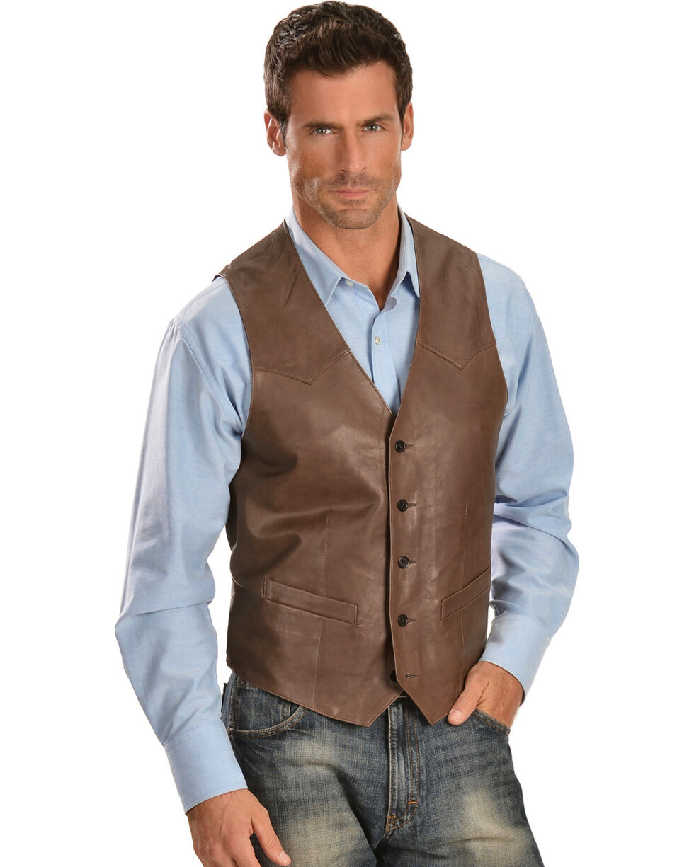 Scully Men's Frontier Leather Vest, Chocolate, hi-res