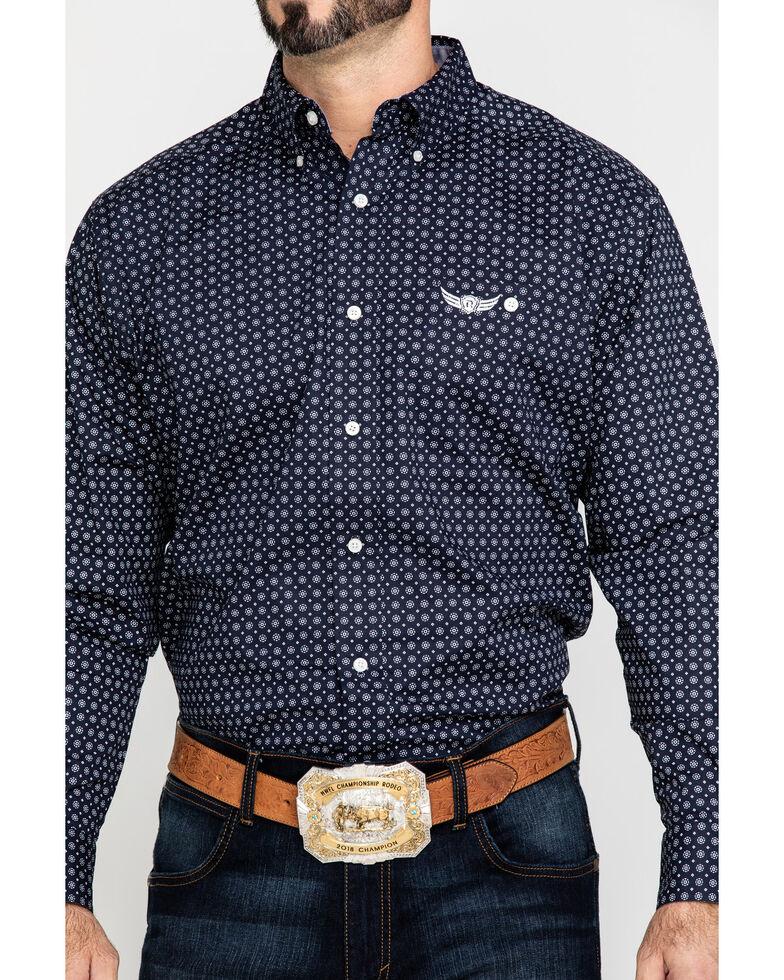 Ariat Men's Relentless Vigorous Stretch Geo Print Long Sleeve Western Shirt , Navy, hi-res