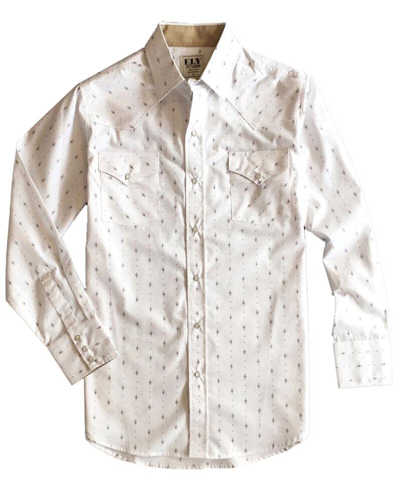 Ely Walker Men's White Aztec Geo Print Long Sleeve Western Shirt , White, hi-res