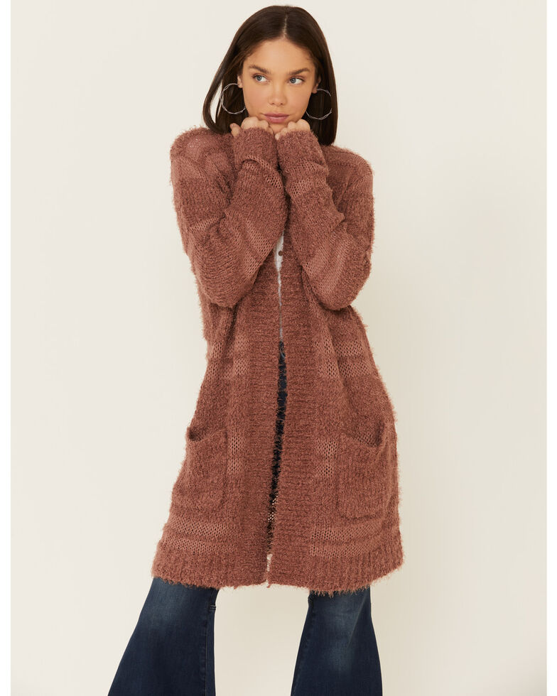 Tiffany & Grey Women's Burlwood Textured Sweater Knit Cardigan , Mauve, hi-res