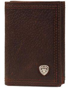 Ariat Men's Tri-Fold Wallet, Brown, hi-res