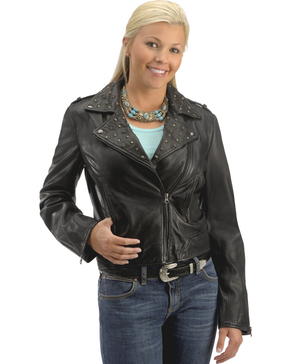 Scully Studded Collar Leather Jacket, Black, hi-res