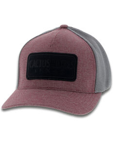 HOOey Men's Maroon Cactus Ropes Flex Fitted Cap , Maroon, hi-res