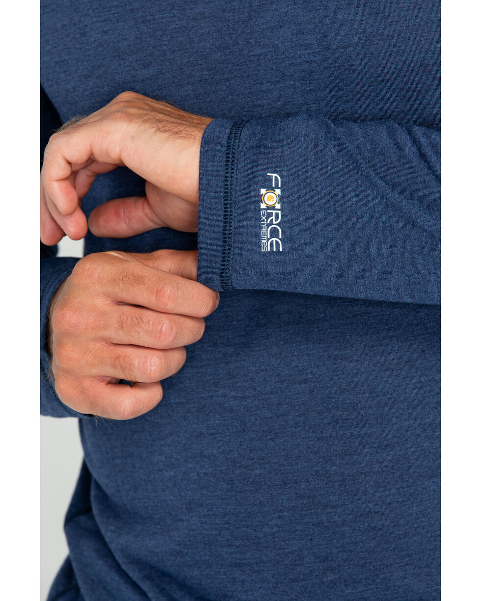 Carhartt Men's Solid Force Extremes Long Sleeve Work Shirt , Navy, hi-res