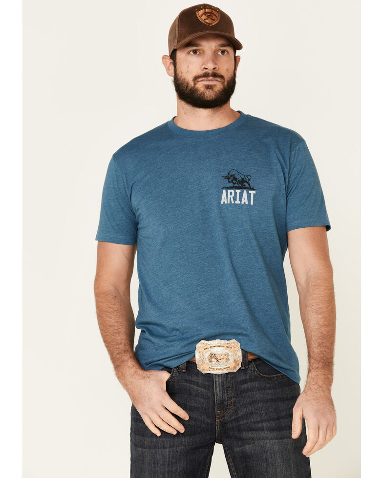 Ariat Men's Steel Blue Heather No Bull Graphic T-Shirt , Blue, hi-res
