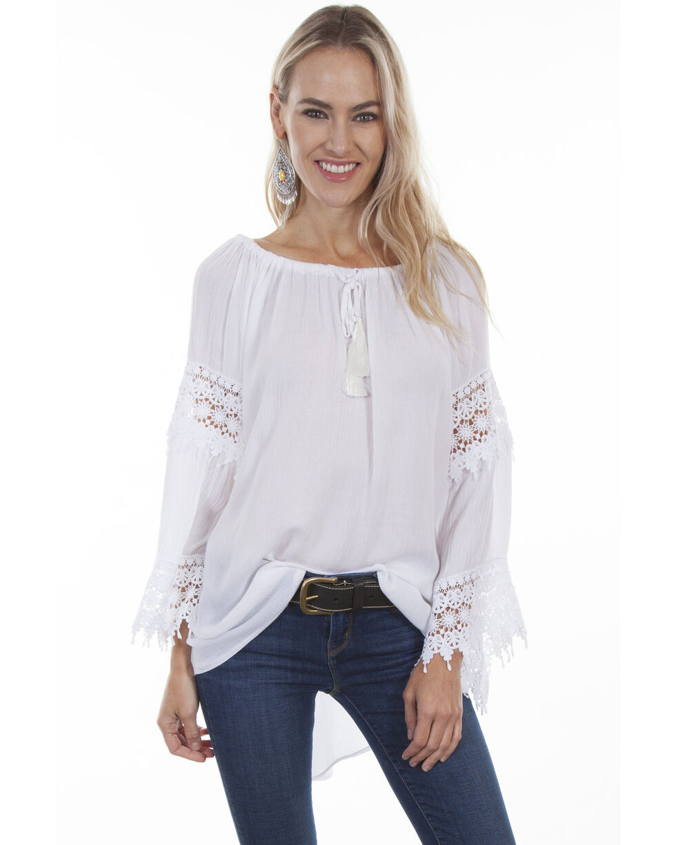 Honey Creek by Scully Women's Crochet Lace Long Sleeve Blouse, , hi-res