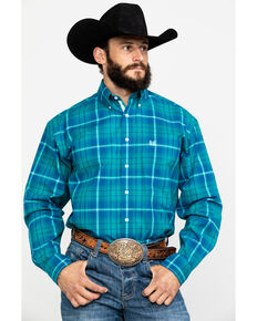 Rough Stock By Panhandle Men's Andover Ombre Stretch Plaid Long Sleeve Western Shirt , Blue, hi-res