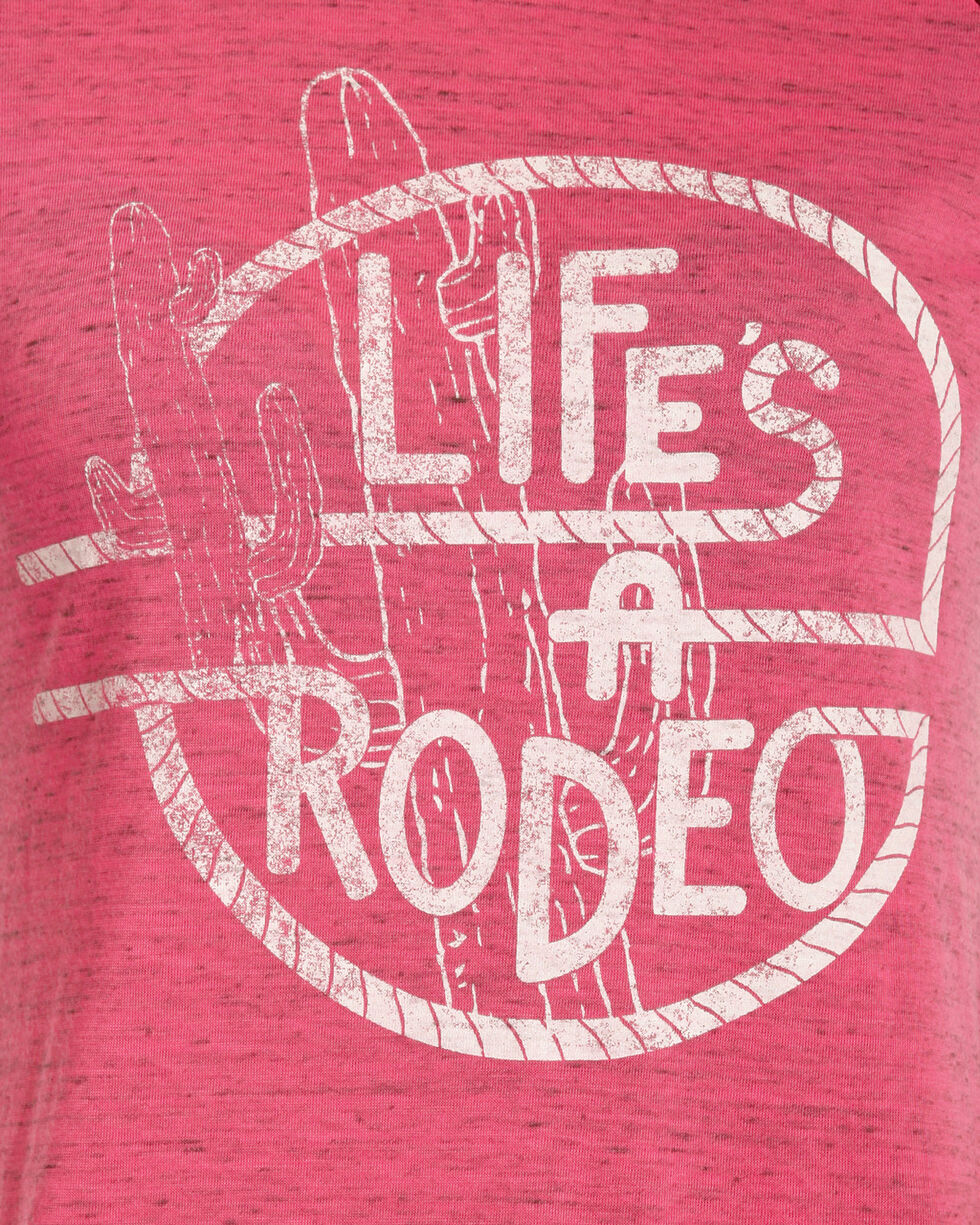 Rock & Roll Cowgirl Women's Pink Life's A Rodeo Baseball Tee , Pink, hi-res
