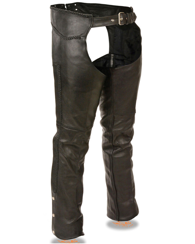 Milwaukee Leather Men's Braided Detail Leather Chaps, Black, hi-res