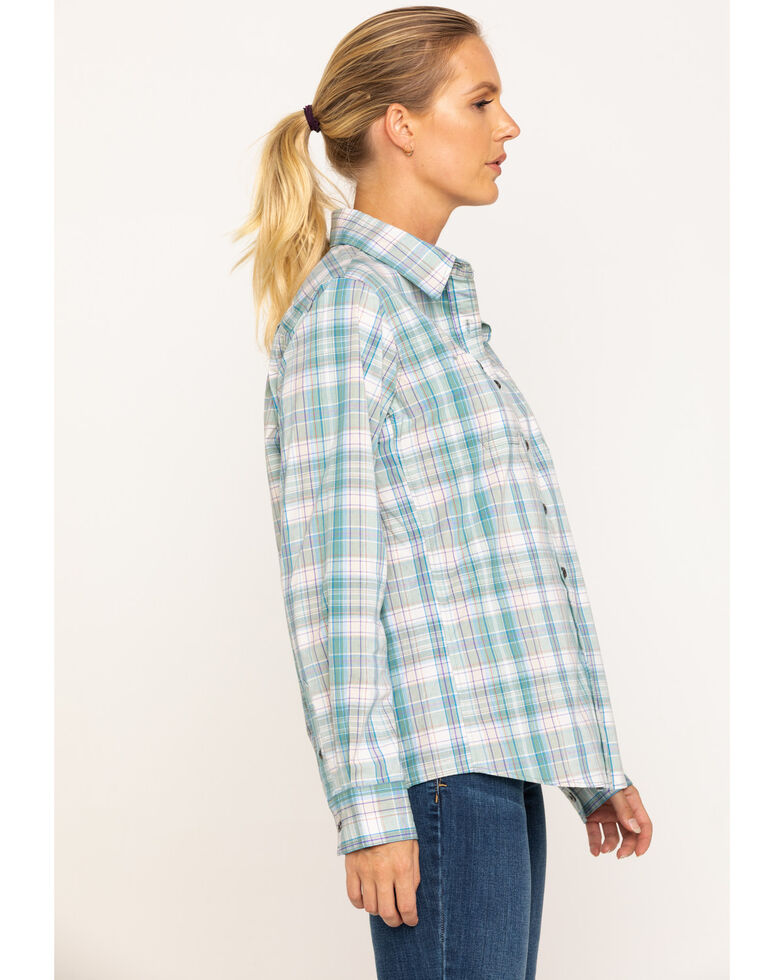 Wrangler Riggs Women's Teal Blue Plaid Long Sleeve Work Shirt  , , hi-res