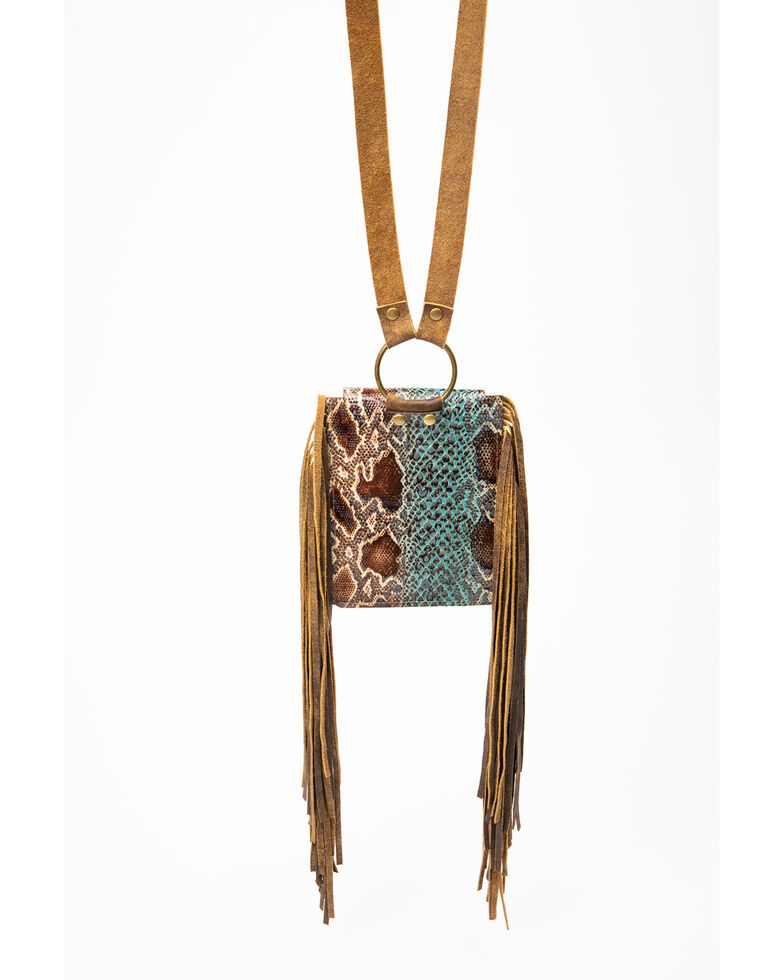 Keep It Gypsy Turquoise Snake Embossed Leather Crossbody Bag, Turquoise, hi-res