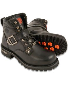 """Milwaukee Leather Men's 6"""" Side Buckle Boots - Round Toe - Wide , Black, hi-res"""