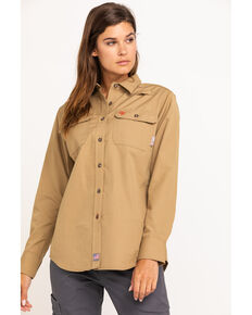 Ariat Women's Khaki Featherlight Long Sleeve FR Work Shirt , Beige/khaki, hi-res