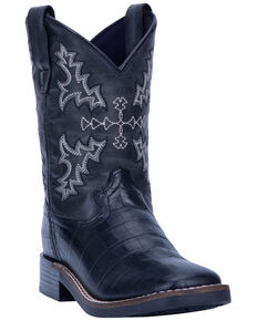 Dan Post Boys' Al E. Gator Western Boots - Wide Square Toe, Black, hi-res