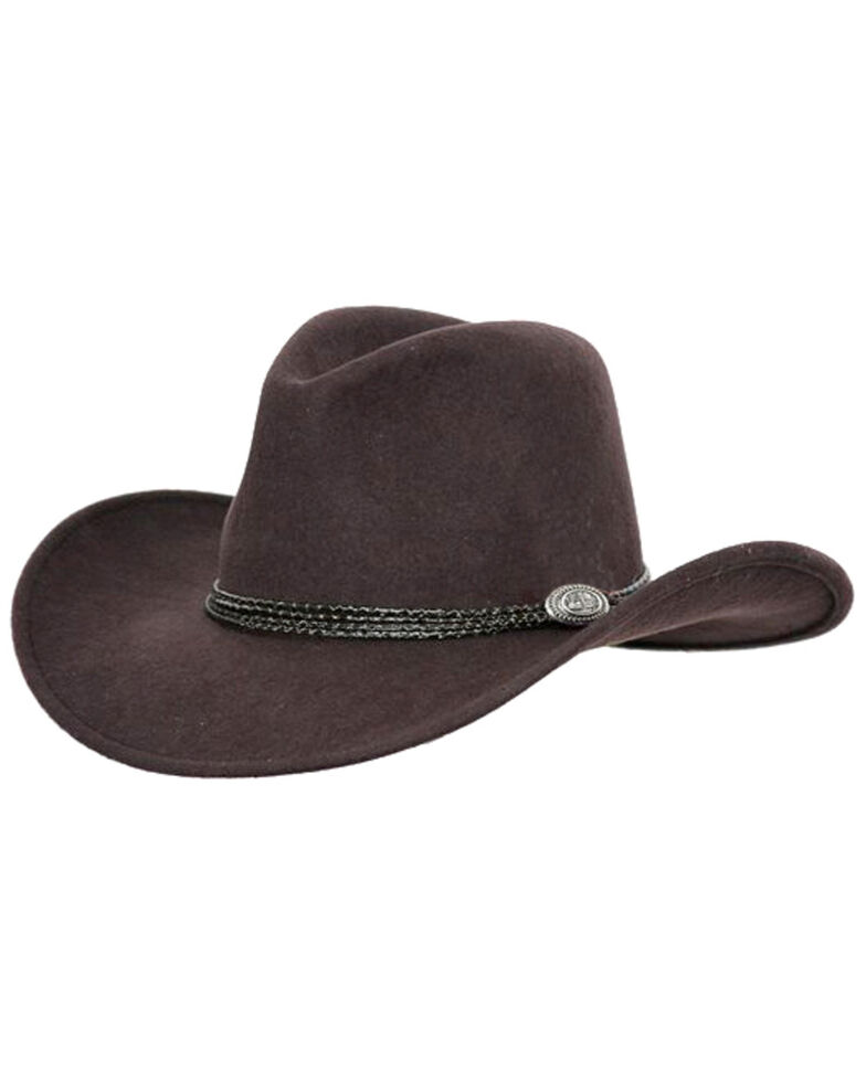 Outback Trading Co. Shy Game Crusher UPF50 Australian Wool Hat , Brown, hi-res