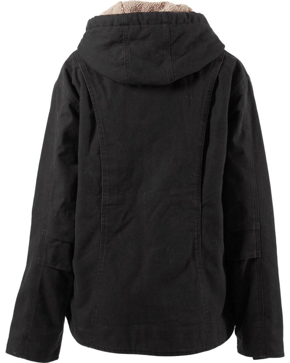 Berne Women's Washed Sherpa-Lined Hooded Coat, Black, hi-res