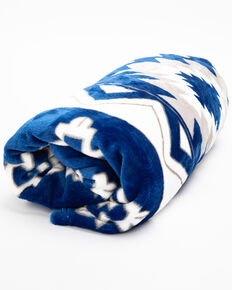BB Ranch Navy Aztec Fleece Throw, Blue, hi-res