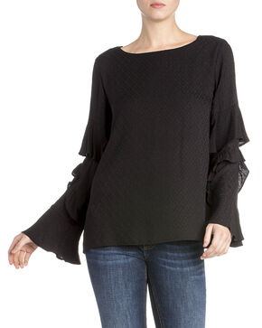 Miss Me Women's Ruffle Bell Long Sleeve Top, Black, hi-res